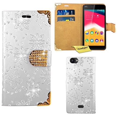FoneExpert® Wiko Rainbow Jam Handy Tasche, Bling Luxus Diamant Hülle Wallet Case Cover Hüllen Etui Ledertasche Premium Lederhülle Schutzhülle für Wiko Rainbow Jam