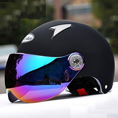 Elektrische Autos Motorrad Schutzkappe Komfortable Sicherheit Bequemlichkeit Reise Männer und Frauen Halbhelm Sommer Senden Masken ( Farbe : Schwarz )
