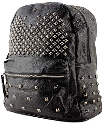 Kukk zaino donna nero in pelle pu con borchie - zainetto per ragazza, leggero e alla moda, ideale per tempo libero o viaggio (borchiato 2)