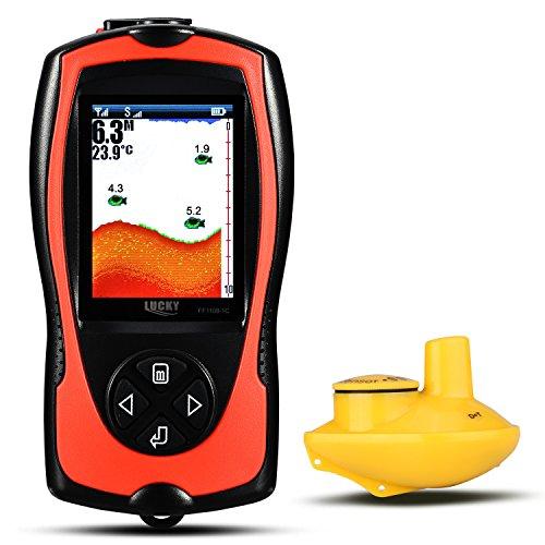 Tragbare glückliche Fische Finder mit 2 ~ 147 ft Tiefenbereich Abdeckung farbiges TFT LCD Display Fischfinder Sensor Sonar Frequenz Fisch-Detektor