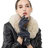 Nappaglo Damen Italienisches Lammfell Leder Handschuhe Touchscreen Winter Warm Langes Fleecefutter Handschuhe (L (Umfang der Handfläche:19.0-20.3cm), Dunkelmarineblau(Touchscreen))