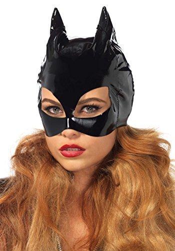 sexy erotisch schwarz Vinyl Katzenmaske Maskerade Catwoman Kostüm Halloween ungezogen - Schwarz