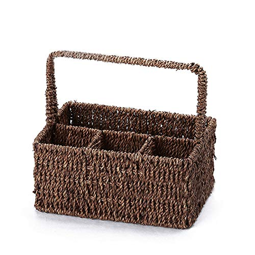 DioKlen - Vintage 6 Compartment Seagrass Cutlery Condiment Storage Holder Caddy Basket Woven Baskets Rattan Fruit Container Organizer [ Army Green ]