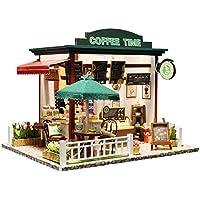 Coil.c Casa de muñecas 3D con luz LED, Tienda de Cafe Dollhouse Juguetes educativos, Mini casa Hecha a Mano en Miniatura, Kits de casa de muñecas en Miniatura Estilo romántico
