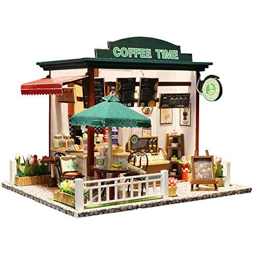 HEIRAO Zeit Kaffee DIY Puppenhaus Kit, Kinder montiert Spielzeug Kit, interaktives Familienspielzeug, Jungen und Mädchen