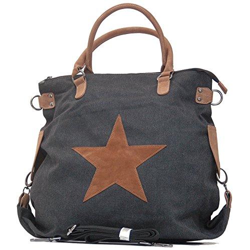 Vain Secrets Sternen Shopper Damen Handtasche mit Schulterriemen (Schwarz)