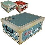 Aufbewahrungsbox 18L mit Deckel Retro 3er Set Pappe Aufbewahrungskiste Truhe Aufbewahrung Schachtel