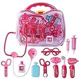 YAKOK 12 Stück Arztkoffer Kinder, Arzt Zubehör Spielzeug Arzt Spielzeug Set mit Stethoskop Kinderarztkoffer für Kinder Kleinkind Junge Mädchen ab 2-5 Jahre (Rosa)