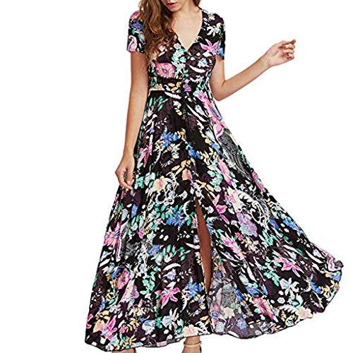 V Ausschnitt Elegant Kleider Fließende Longbluse Casual Leicht Sommerkleid Freizeit Abendkleider Lang Blumenmuster Brautjungfernkleid Asymmetrisches Partykleid ()