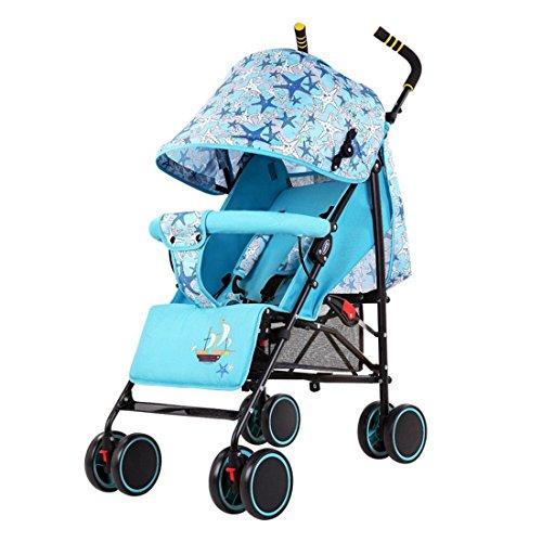 Qianle Four Wheel Baby Pushchair Stroller Buggy Pushchair Lake Blue