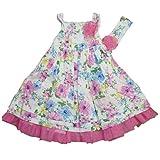Jillian's Closet Blumen Petticoat Mädchen Kleid Girl Tüll Flower Dress mit Passendem Haarband (98)