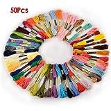 SODIAL(R) 50 Docken Sticktwist Stickgarn 8m 6-f?dig Multicolor farblich bunt