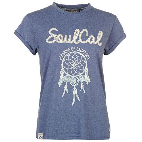 Soulcal Fashion Logo T-Shirt Top Haut Manche Courte Femmes Denim Marl XXL