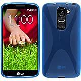 PhoneNatic Case für LG G2 mini Hülle Silikon blau X-Style + 2 Schutzfolien