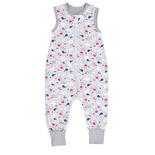 TupTam Unisex Babyschlafsack mit Beinen Unwattiert, Farbe: Wale/Rosa, Größe: 80-86