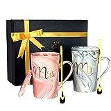 Ensembles de Mugs - Mr Mrs Tasses à Café 2Pcs Ensembles deTasses Cadeau pour Mariage, Couple, Anniversaire, Saint Valentin, Noël (420ml)