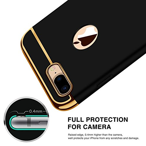 Avzax® 3in1 Dual Hybrid Ultra-Thin Hard Back Shock Absorber Case Cover for Apple iPhone 8 (Black)