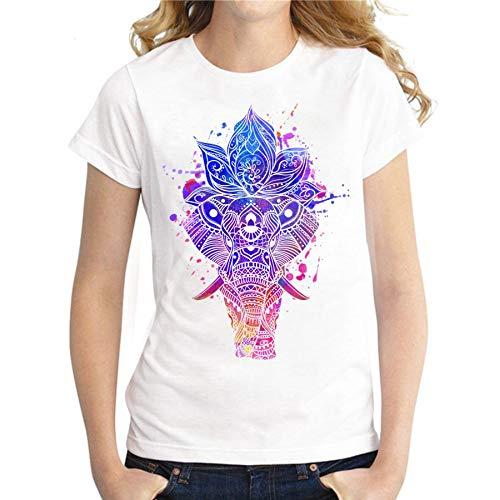 XIAOBAOZITXU Mujeres del Verano Camiseta Original del Elefante Psicodélico Imprimir Camiseta Femenina Fresca Casual De Manga Corta para Mujer Ropa Tops Tees XXL