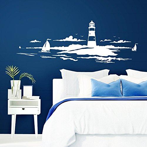 Grandora Skyline Küstenlandschaft Leuchtturm I weiß 167 x 58 cm I Bad Wohnzimmer Schlafzimmer Aufkleber Wandaufkleber Wandsticker Modern W974 - Moderne Leuchtturm
