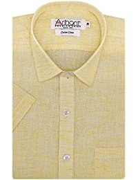 Arihant Men's Formal Shirt (AR73982040, Yellow, 40)