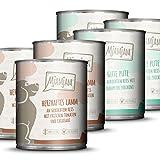 MjAMjAM - Premium Nassfutter für Hunde - Monopaket I - mit Lamm und Pute, 6er Pack (6 x 800 g), naturbelassen mit extra viel Fleisch