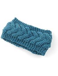 SODIAL(R) Women Lady Girls Knitted Twist Crochet Hair Band Ear Warmer Navy Blue