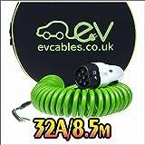 EV Cables Premium Ladekabel mit Bonus Tragetasche Spirale Typ 2 tethered - 32 amp | 8.5 meter | 7.2kW - Green