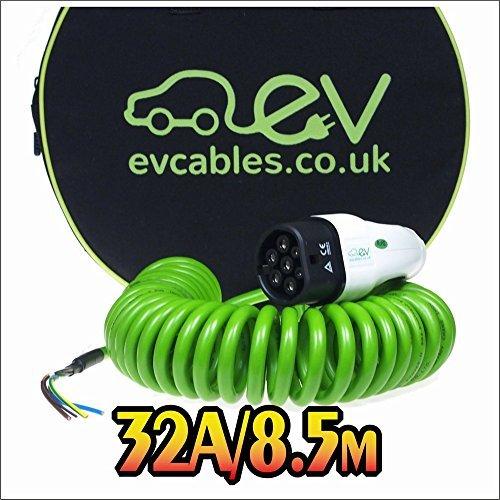 EV Cables Premium Ladekabel mit Bonus Tragetasche Spirale Typ 2 tethered - 32 amp   8.5 meter   7.2kW - Green