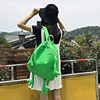 ZHAOSHOP backpack Schoolgirl high school student backpack cute cute frog canvas backpack
