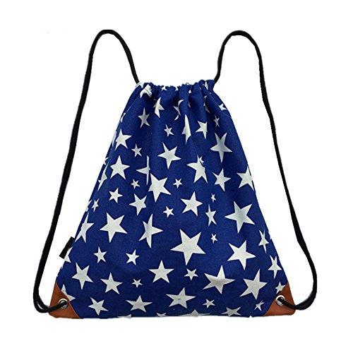 Fieans Turnbeutel mit Union Jack Flag,USA Flag Aufdruck Tasche Tuete Rucksack Jutebeutel Hipster Fashion Turnbeutel Sportbeutel-Sterne (Flag-tag-buch)