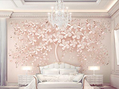 Fototapete 3D Effekt Tapete Das Elegante Und Luxuriöse Rose Gold Ein Blühender Baum Vliestapete 3D Wallpaper Moderne Wanddeko Wandbilder