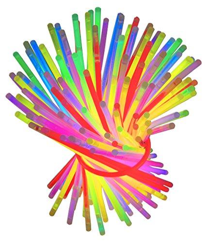 Set 100 Knicklichter bunt Knicklicht Armbänder Verbinder Leuchtstäbe Pink, Rot, Gelb, Grün, Blau Arm-Knicklichter Outdoor Silvester (Glow Armbänder Blau)