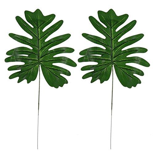 OULII 2 Stück Künstliche blätter Pflanze Tropische Blätter für Hawaii Luau Hochzeit Party Dekorationen Tischdeko
