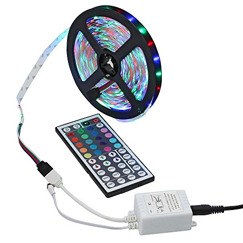 niceEshop(TM) Led Strip, 5M 16.4ft 3528 SMD 300LEDs RGB Farbe ändern Flexiblen Led Streifen Licht Kit + 44key IR Remote Controller für Home Decorative (Strip-aquarium-beleuchtung)
