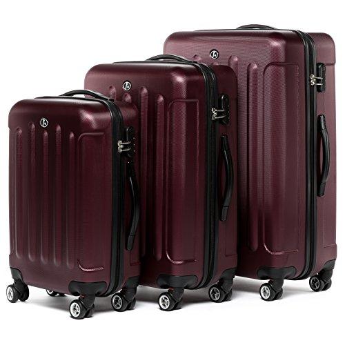 FERGÉ Kofferset Hartschale 3-teilig Lyon Trolley-Set - Handgepäck 55 cm L XL - 3er Hartschalenkoffer Roll-Koffer 4 Rollen 100% ABS rot