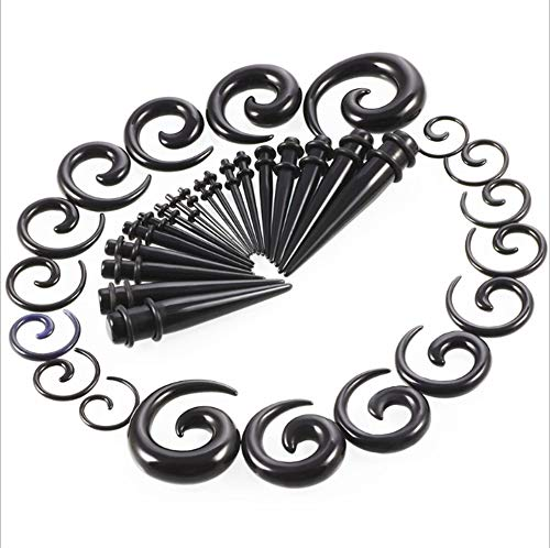 CHESUN 36 Pieces Gauges Kit Tapers Plugs O-Ring Plug Ear Stretching Set Style Plugst Gauges Kit Tapers,Acrylic Set Ear Expansion Of Ear Expander 14G-00G Piercing Jewelry,Black