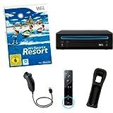 NINTENDO Wii Konsole schwarz + Wii Sports Resort (12 Sport Spiele) Nintendo Remote Plus und Nunchuk Controller