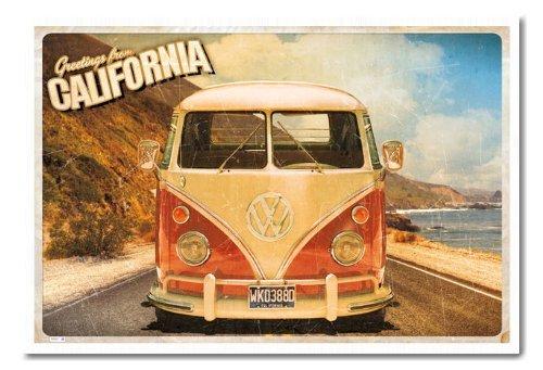 Camper VW California Postcard poster sughero Pin Lavagnetta Bianco Con cornice-96.5x 66cms (circa 96,5x 66cm)
