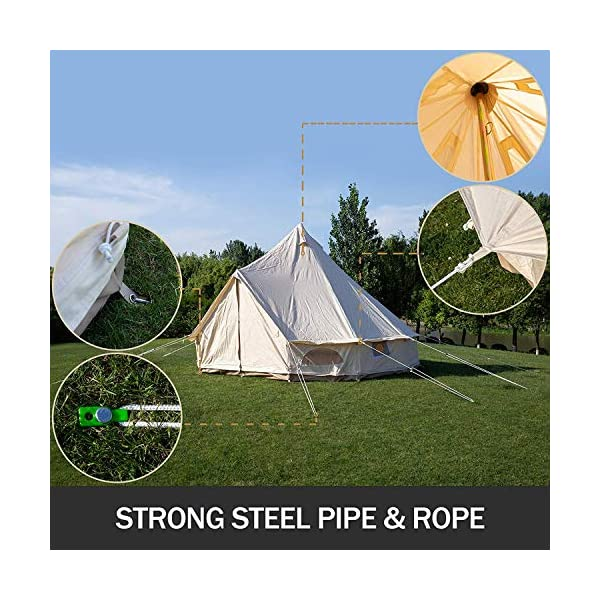 BuoQua Bell Tent Canvas Tent with Stove Hole Cotton Canvas Tents Yurt Tent for Camping 4-Season Waterproof Bell Tent for Family Camping Outdoor Hunting 5