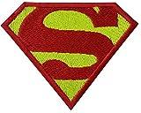 Superman Comic Logo Kids Patch ''8,6 x 6 cm '' - Aufnäher Aufbügler Applikation Applique Bügelbilder Flicken Embroidered Iron on Patches