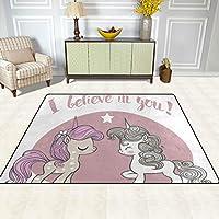 ISAOA Alfombra Moderna y Suave para niños, Color Rosa y Azul, diseño de Unicornios