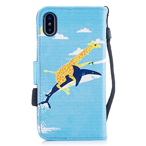 Custodia iphone X Cover ,COZY HUT Flip Caso in Pelle Premium Portafoglio Custodia per iphone X, Retro Animali di cartone animato Modello Design Con Cinturino da Polso Magnetico Snap-on Book style Inte Squalo di giraffa