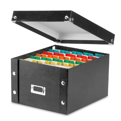 Snap-N-Store IDESNS01647CT Collapsible 5 x 8 Index Card File Box, 1,100 Card Capacity, 8-1/8W x 8-3/4D x 5H, 6 Per Carton, Black by Snap-N-Store 5 X 6 Collapsible