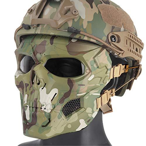 elm, Schädel voller Gesicht Maske Schild Schutzausrüstung Kraft - On-Force Gunfighting Training Helm Airsoft MMR Munition und Paintball,CP,Mask+HelmetSet ()