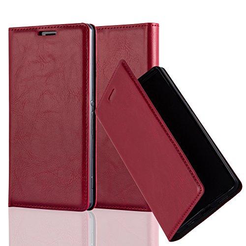 Cadorabo Hülle für Sony Xperia Z3 - Hülle in Apfel ROT – Handyhülle mit Magnetverschluss, Standfunktion und Kartenfach - Case Cover Schutzhülle Etui Tasche Book Klapp Style
