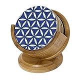 Thirstystone tsux8-h97-ka leuchtende Blau Lattice Muster cremefarben Getränk Untersetzer Set mit Holz Halter, multicolor