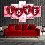 TAOZIQH Moderne Maison Mur Art Décoration Cadre Modulaire Photos 5 Pièces Rouge...