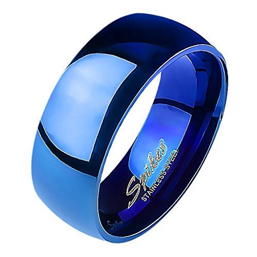 Mianova Band Ring Edelstahl Bandring Ehering Herrenring Damenring Partnerring Verlobungsring Damen Herren Blau Größe 72 (22.9) Breit 8mm