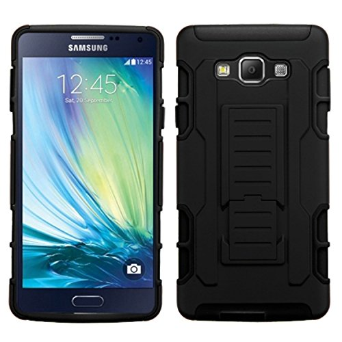 Asmyna Samsung A700Galaxy A7KFZ Armor Ständer Displayschutzfolie Cover Gummierte-Retail Verpackung-Schwarz A700 Cell Phone