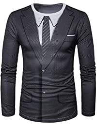 Xmiral Veste Costume Homme Chemise Manches Longues Slim Occasionnel t -  Shirts 8f3e98fd5e0
